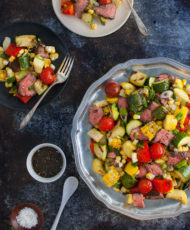 Marinated Skirt Steak and Grilled Vegetables Salad