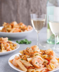 Pasta with Shrimp, Shallots, and Sun-dried Tomatoes in Creamy Madeira Sauce
