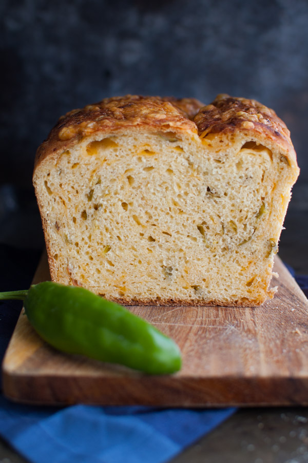 Hatch Chile {or Jalapeño} Cheese Bread - Lots of cheesy flavor with a little kick. Perfect with BBQ, a bowl of chili or use it to make the ultimate grilled cheese sandwich. | tamingofthespoon.com