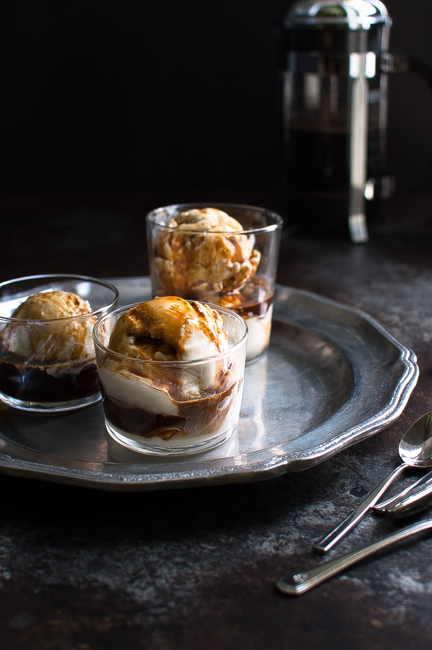 Vietnamese Coffee Affogato - a Vietnamese spin on the classic Italian dessert. Here the gelato is replaced with a simple, no-churn sweetened condensed milk ice-cream and Vietnamese coffee takes the place of espresso. It has all the hallmarks of a good Vietnamese ice coffee but let's you enjoy it in dessert form. | tamingofthespoon.com