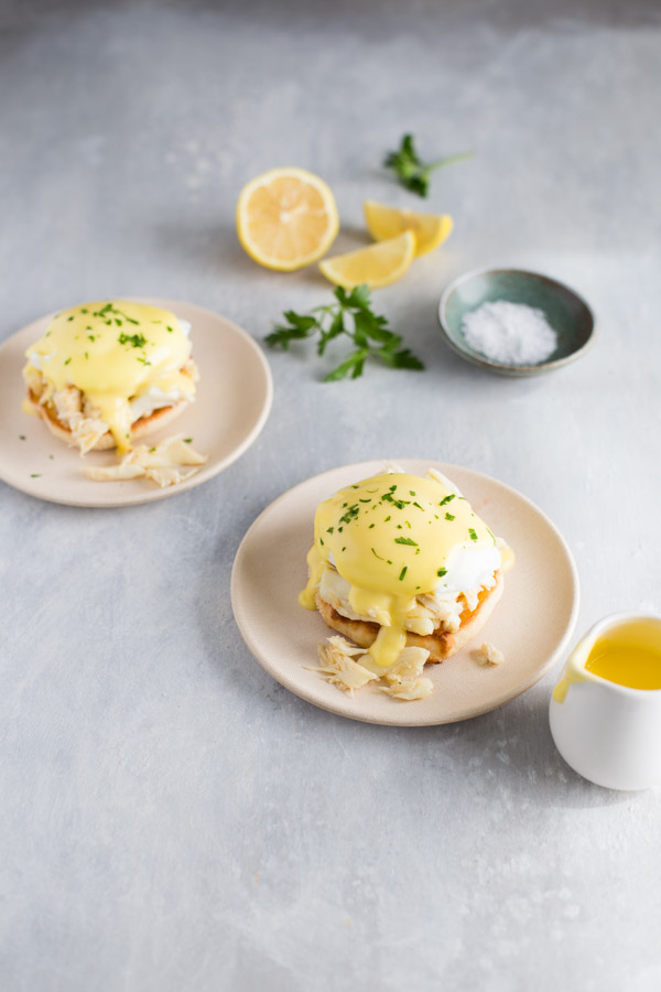 Crab Eggs Benedict - Classic eggs benedict becomes extra special when you use lump crab meat instead of ham. | tamingofthespoon.com