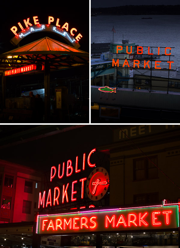 Neon lights at Pike Place Market. | tamingofthespoon.com