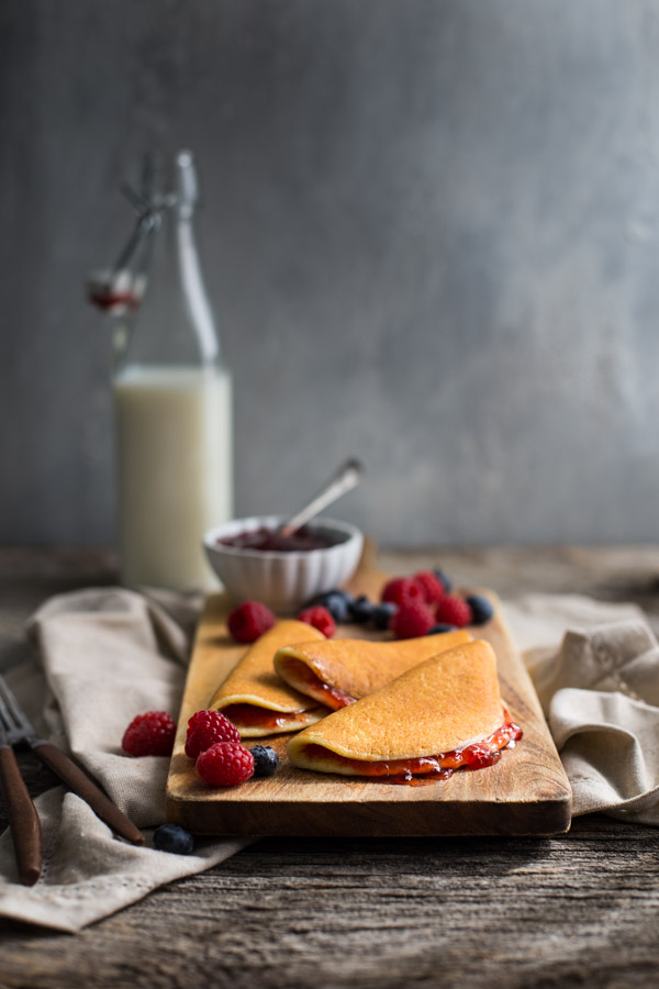Roll-up Pancakes - these light and tender pancakes are made with cottage cheese and eggs for a boost of protein and calcium in your breakfast. | tamingofthespoon.com