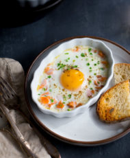 Baked Eggs with Smoked Salmon and Chives