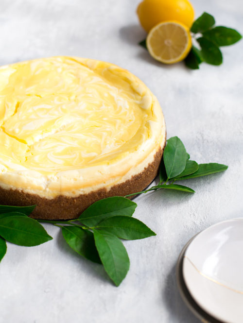 Lemon Curd Marbled Cheesecake