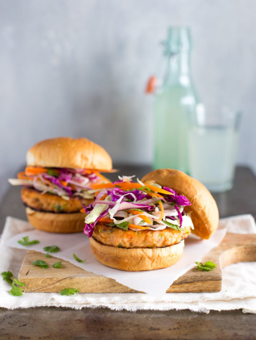 Thai Salmon Burgers with Cabbage Slaw