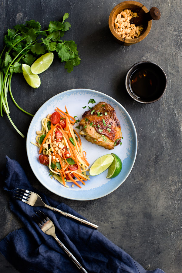 Asian Marinated Chicken with Green Mango and Carrot Salad - Sweet-spicy chicken meets crunchy-tart green mango salad in this Asian inspired dish. | tamingofthespoon.com