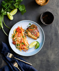 Asian Marinated Chicken with Green Mango and Carrot Salad
