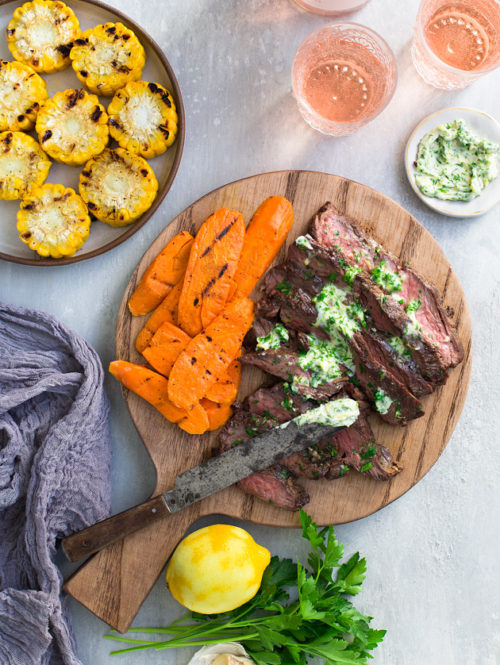Spice-Rubbed Grilled Flap Steak with Parsley Garlic Lemon Butter
