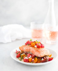 Roasted Salmon with Tomato, Watermelon, Feta Salad