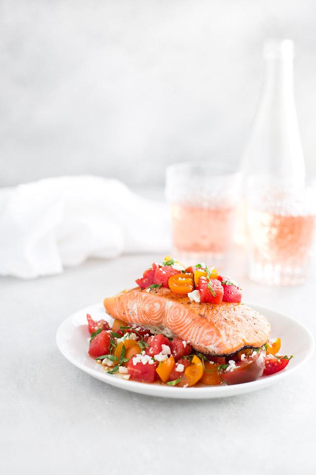 Roasted Salmon with Tomato, Watermelon, Feta Salad