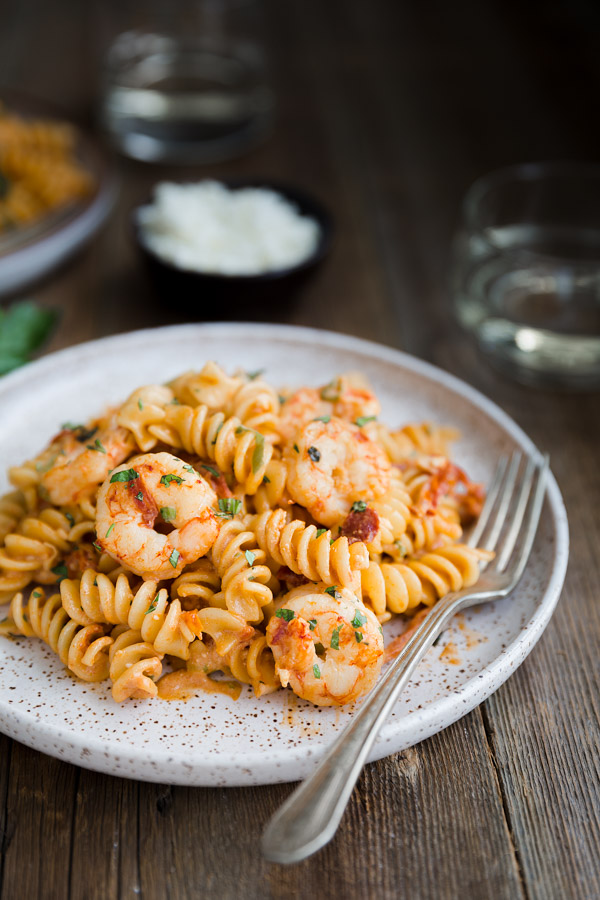 Pasta with Shrimp and Feta in Tomato Cream Sauce | tamingofthespoon.com