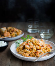 Pasta with Shrimp and Feta in Tomato Cream Sauce