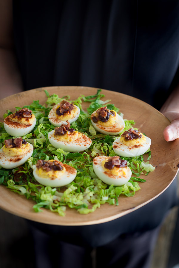 Deviled Eggs with Bacon Jam and Brunch at Liberty Kitchen Garden Oaks | tamingofthespoon.com