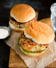 Shrimp Burgers with Bacon and Mozzarella