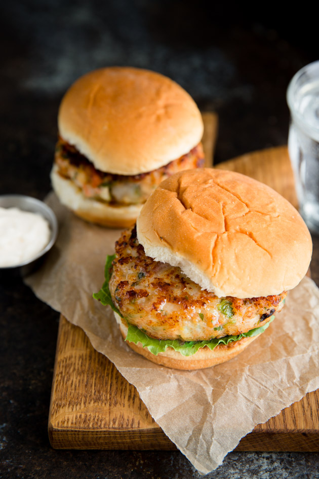 Shrimp Burgers with Bacon and Mozzarella