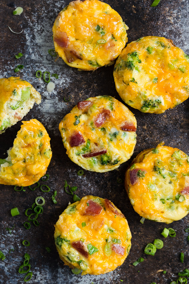 Mini Breakfast Frittatas with Broccoli and Bacon