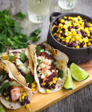 Blackened Salmon Tacos with Avocado Sauce and Black Bean & Corn Relish