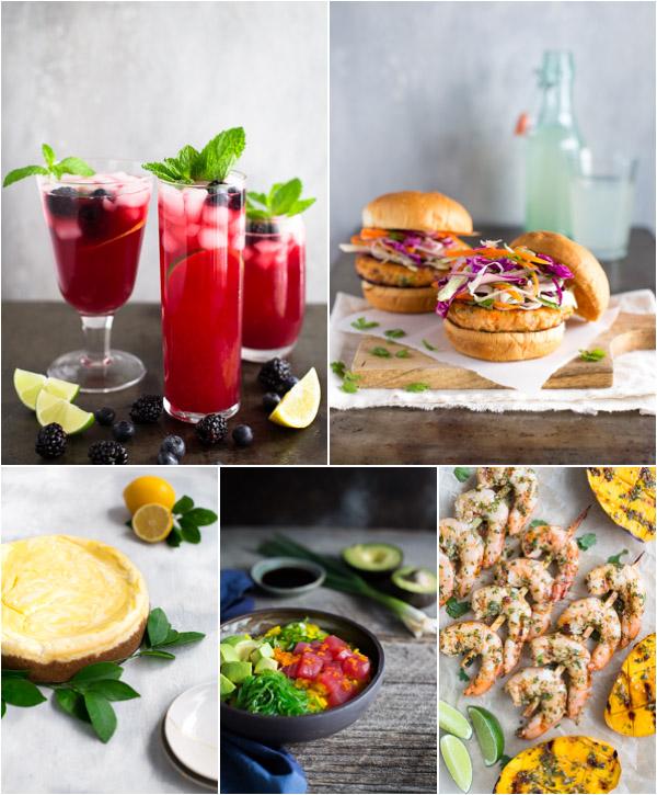 Collage of 5 images - blueberry lemonade, salmon burgers, lemon cheesecake, poke bowl, and grille shrimp skewers.