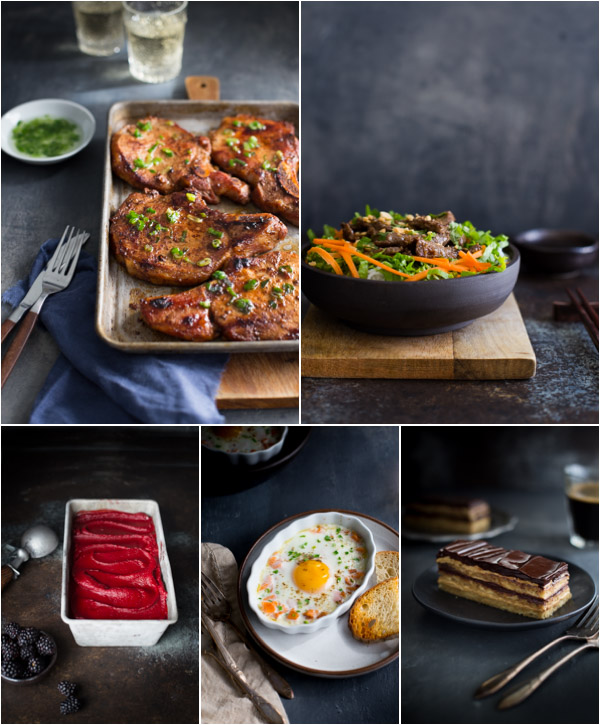 Collage of 5 images - pork chops, beef noodle bowl, blackberry sorbet, baked eggs, and opera cake.