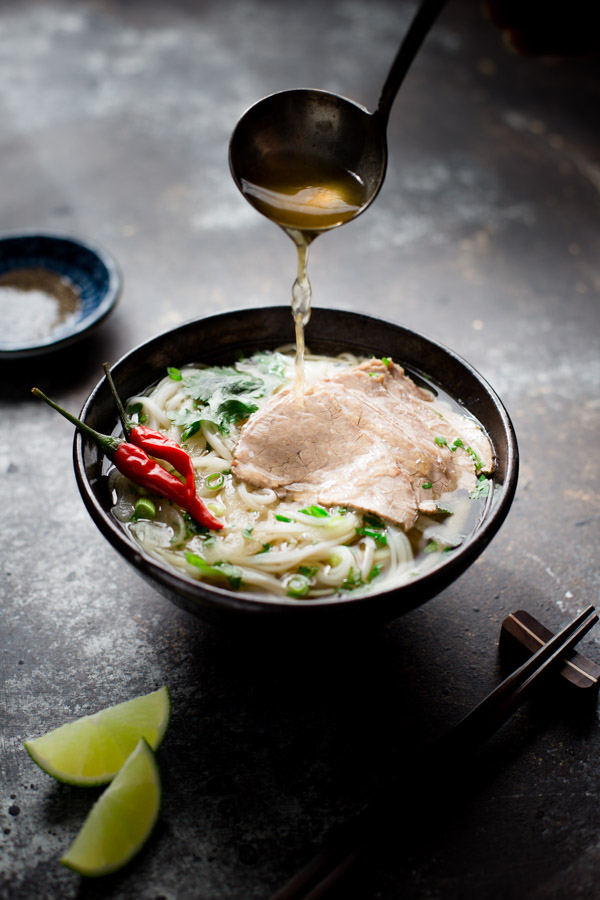 Lemongrass Beef and Noodle Soup - Vietnamese inspired soup with fragrant broth, thin slices of beef, and pho noodles. | tamingofthespoon.