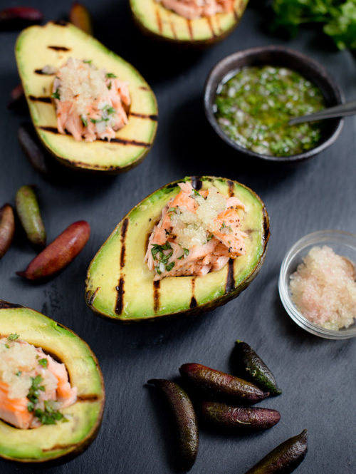 Salmon Stuffed Avocados with Finger Limes