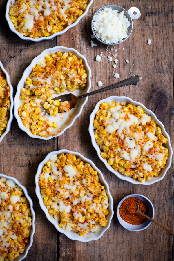 Creamed Elote - the classic Mexican street-corn gets a new spin with mayonnaise blended with roasted fresno peppers and a sprinkling of togarashi. | tamingofthespoon.com
