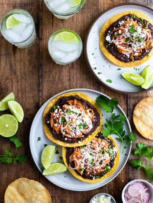 Easy Chicken Tinga Tostadas