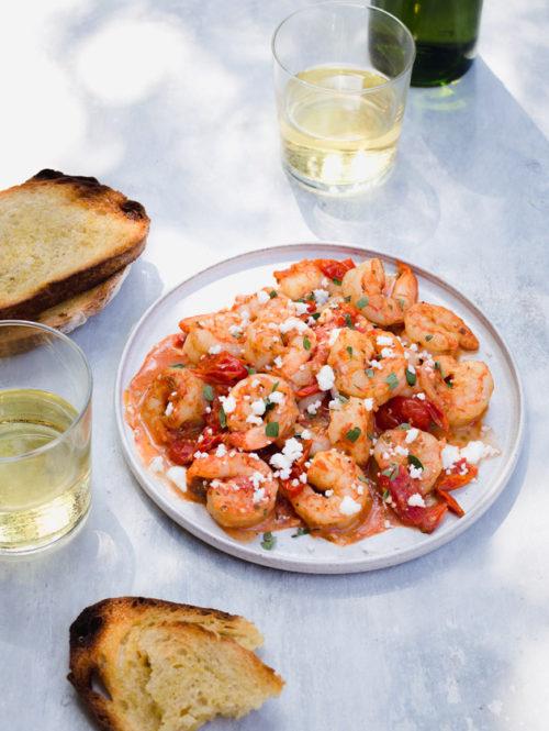 Garlic Shrimp with Oregano and Feta