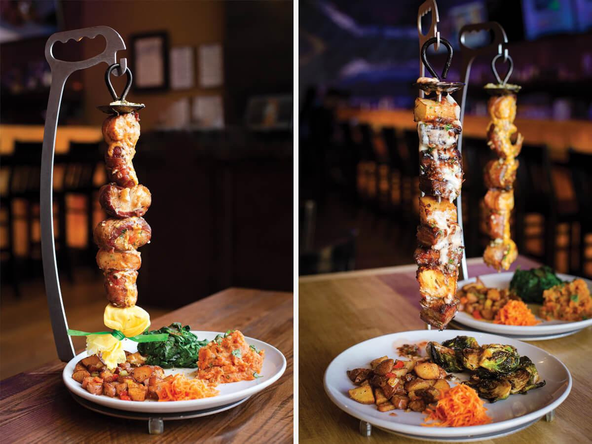 Collage of images showing espetadas from Peli Peli restaurant.