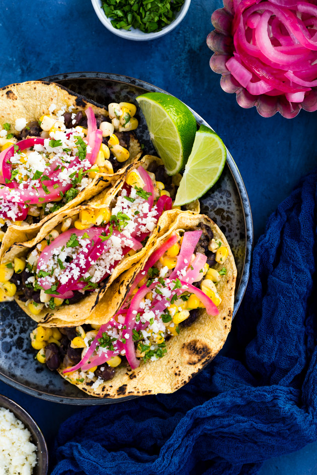 Cuban-Style Black Bean and Elote Tacos