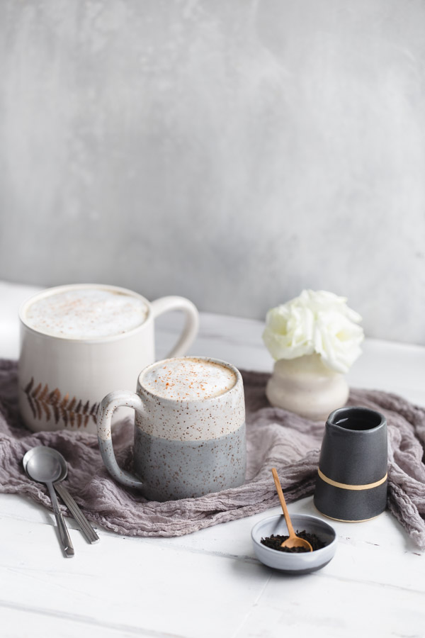 London Fog Tea Latte - make your standard cup of Earl Grey more special with some vanilla-cardamom simple syrup and steamed milk. | tamingofthespoon.com