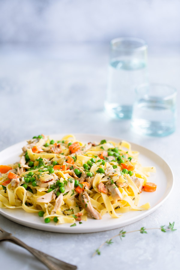 Fettuccine with Creamy Chicken Ragù - braised chicken thighs and crispy pancetta add tons of flavor to the creamy sauce tossed with fettuccine.