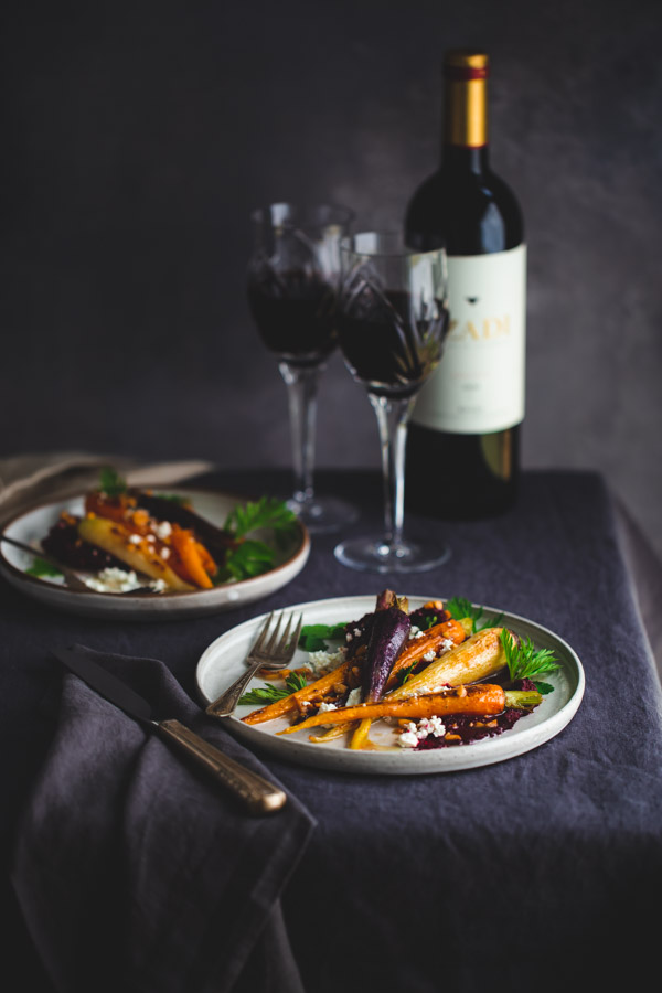 Roasted Carrots with Beet Purée - simple roasted carrots get fancy when paired with roasted beet purée and topped with browned butter.