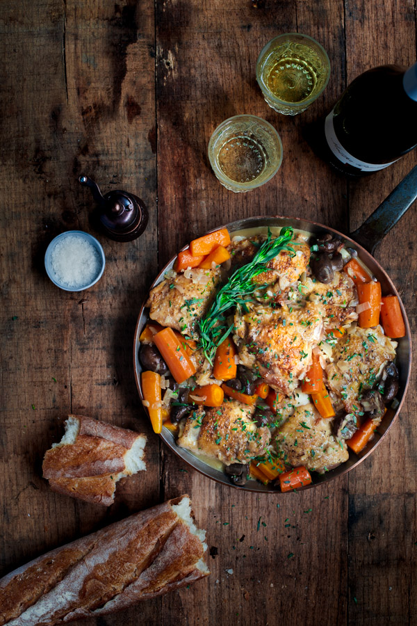 Creamy Chicken in White Wine Sauce - Braised chicken in a creamy tarragon white wine sauce with mushrooms and carrots - a complete dinner in one-pot!