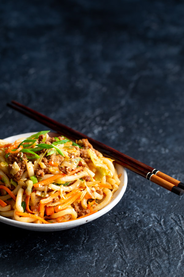 Stir-fried Udon Noodles - A quick and easy stir-fry that's a complete meal in one pan. Plus it's loaded with vegetables so it's healthy too.