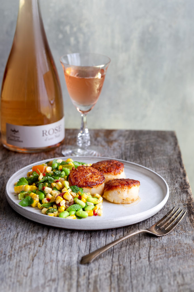 Seared Scallops with Corn Salad and Miso Dressing - Enjoy the best of summer produce with this  corn salad topped with seared and butter basted scallops.