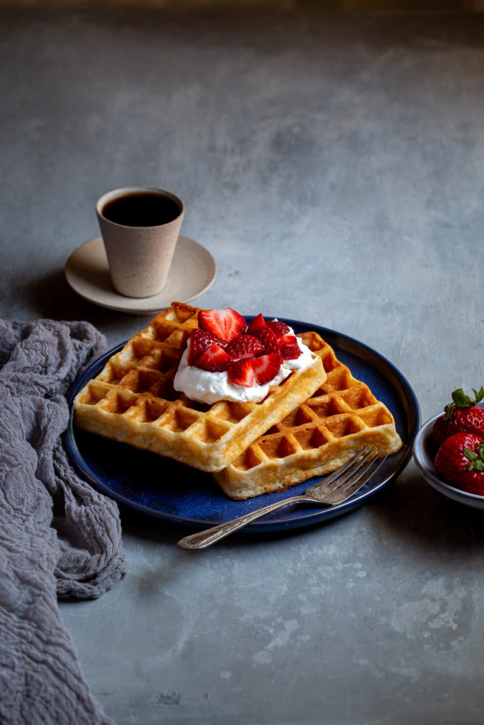 Light & Crisp Belgian Waffles - Amazingly light and crisp waffles when they are freshly made but also re-heat to be almost as good. Perfect for weekdays!