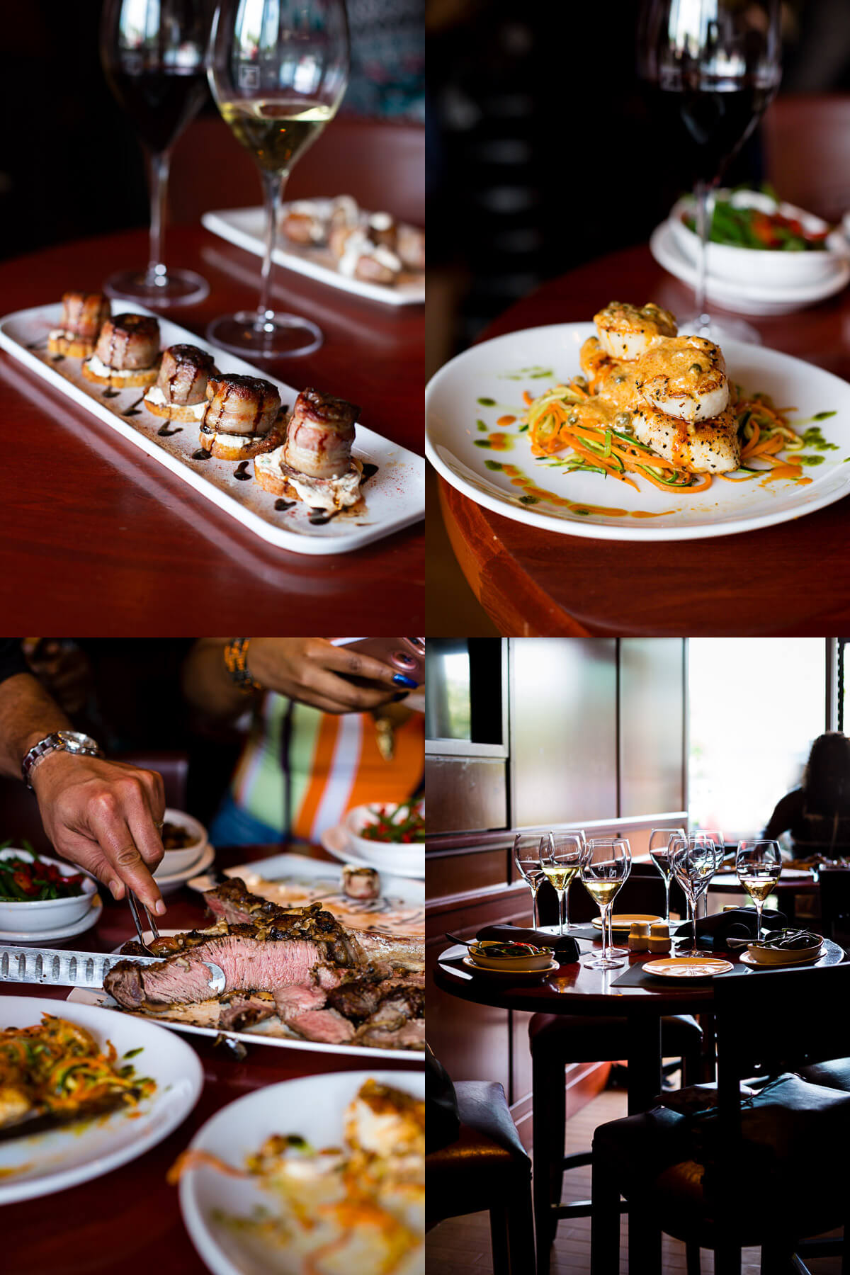 A photo collage of dishes from Fleming's Prime Steakhouse.