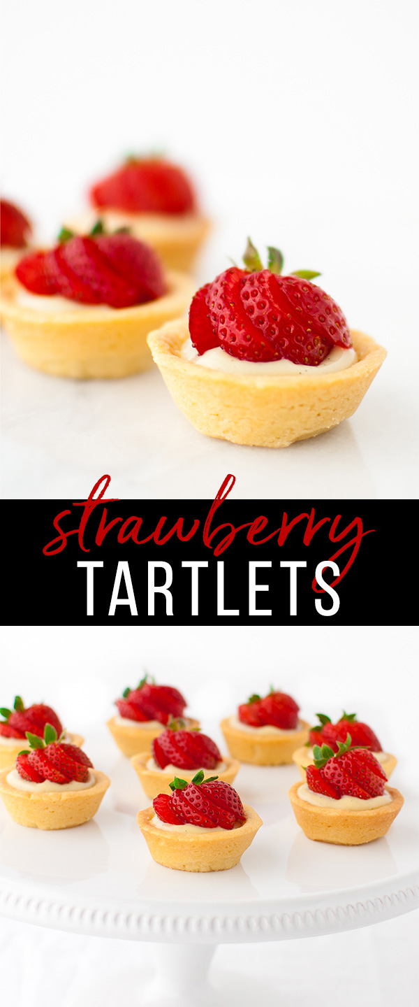 A collage of mini strawberry tartlets on a white cake stand.