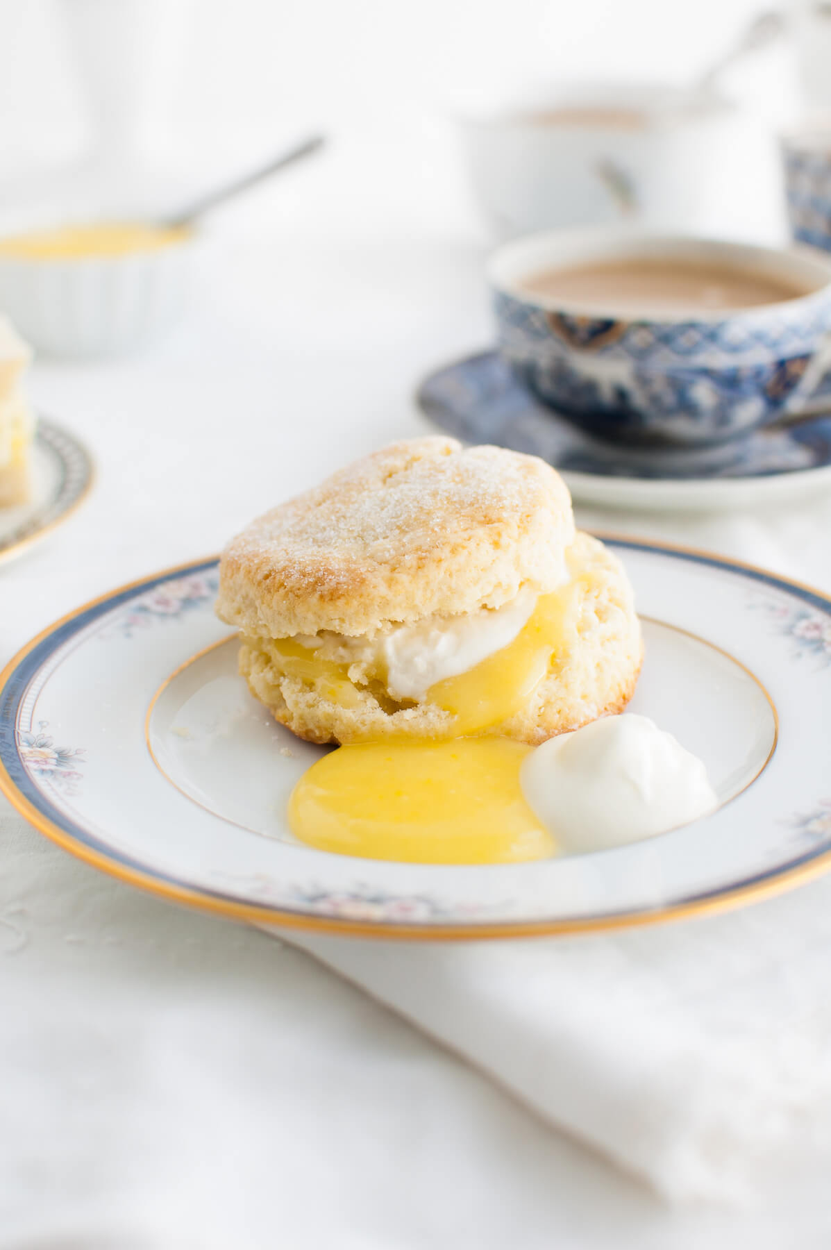 Cream scone, lemon curd, and whipped cream on a china plate