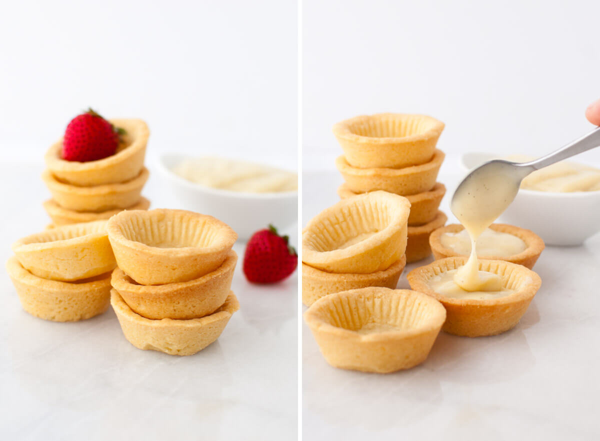 A collage showing a stack of tartlet shells and a tartlet shell being filled with vanilla pastry cream.