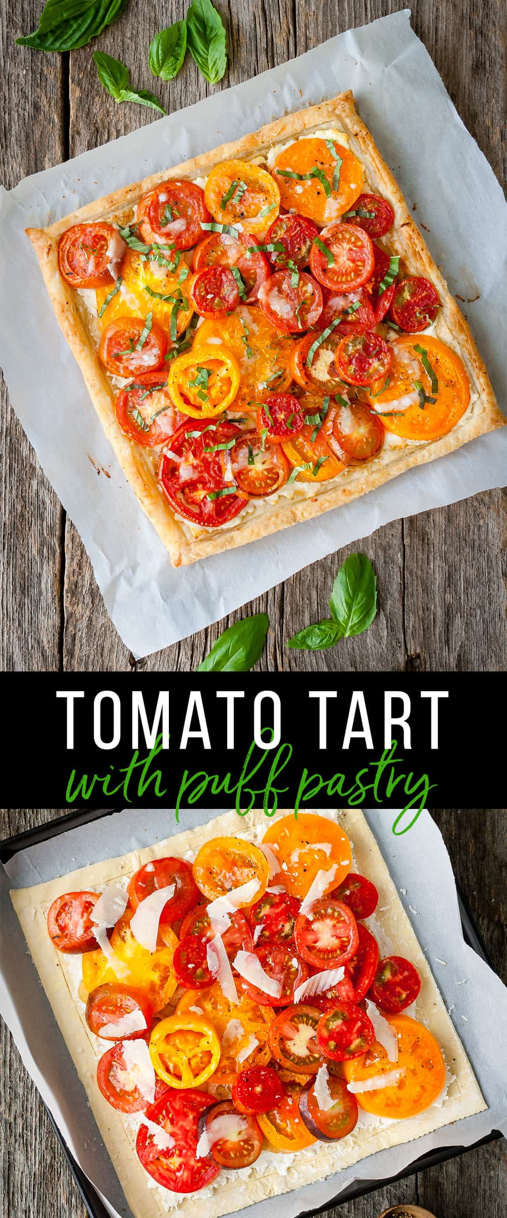 Collage of tomato tart with puff pastry before and after baking.