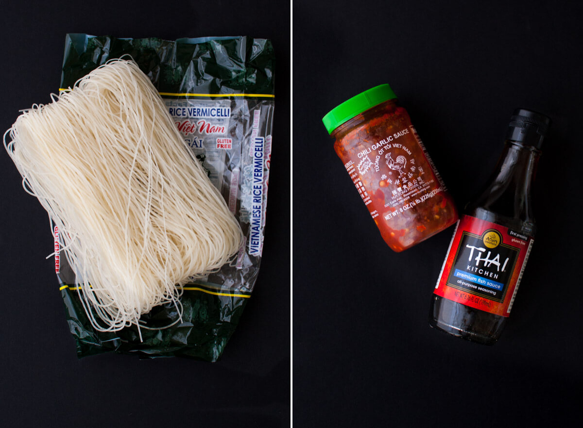 Ingredients for Vietnamese noodle bowls with grilled chicken.