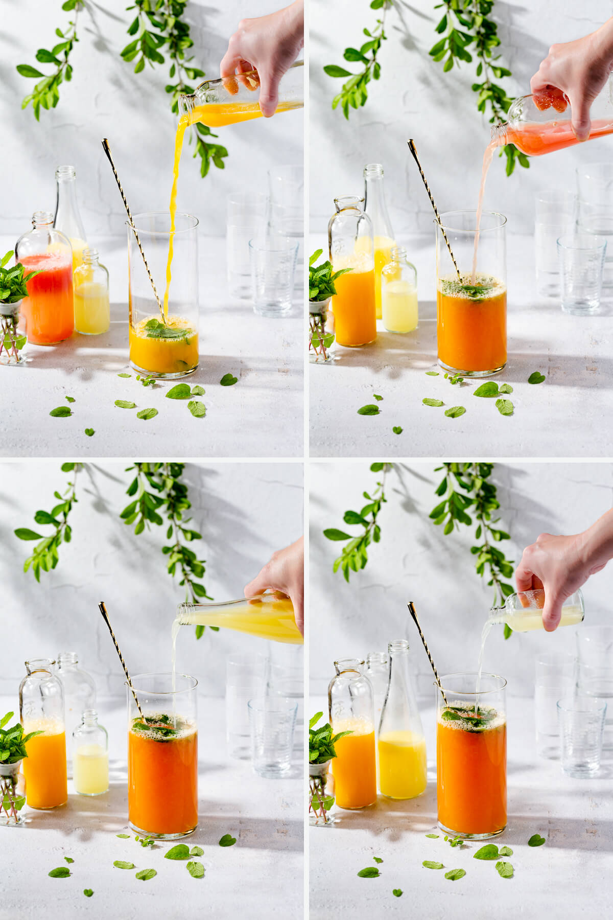 A collage of showing how to make mintade with fresh juices.